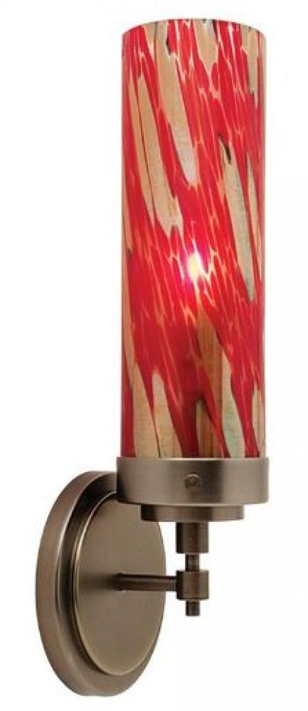 Red Glass cylinder Sconce