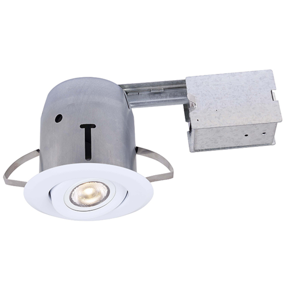 Recessed, RD43RG2WH-LED, IC and Non-IC REMODEL, Gimbal Trim, 1 x Bymea 8W 500Lumen 3000K PAR20 Bulb
